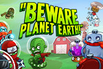 The Martians have a sinister plan to cow-nap our precious cattle!  It's up to you to stop the Martian menace in Beware Planet Earth!