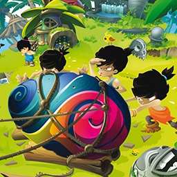 Bonga Online - Build your very own paradise!  It's up to you to help a small tribe of outcasts survive and thrive in the casual simulation game Bonga Online. - logo