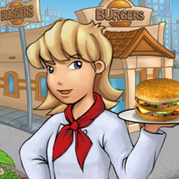 Burger Rush - Match ingredients to assemble burgers for waiting customers. Is it a match-three game or a restaurant game? Play Burger Rush to find out! - logo