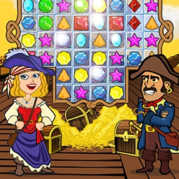 Caribbean Jewel - Get ready for some piratical match 3 action!  In Caribbean Jewel, it's your job to rescue the captain's fiancée and his treasure map! - logo
