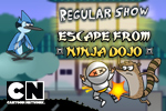 With Mordecai as your guide, launch Rigby through a slew of deadly ninjas, treacherous traps, and epic levels in Adventure Time: Ninja Dojo!