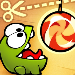 Cut the Rope - Are you ready to release delicious bundles of candy into Om Nom's mouth? See how satisfied you can keep him! Play today! - logo