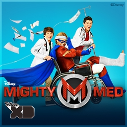 Disney XD: Mighty Med - Join Kaz and Oliver in the fantastic world of Disney XD's Mighty Meds!  As the city's super heroes go down, you and the Mighty Meds must pick them up! - logo