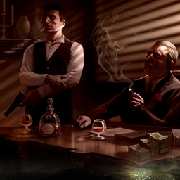 The Godfather: Five Families - Start as a young gangster and move your way up in the mob. Can you become the Don of your family? Play Godfather: Five Families today! - logo