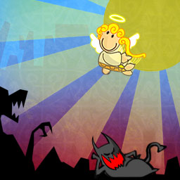 Heaven & Hell - In the Match 3 game Heaven & Hell, the slacker angel, Angelo, needs your help to get back into heaven! - logo