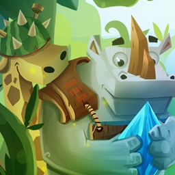 Jungle vs Droids - Jungle vs. Droids combines unique tower defense mechanics with funny graphics, loads of upgrades and two unique mini-games! Play today! - logo