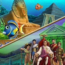 Match-3 All-Time Hit Bundle - Get TWO excellent games with the Match-3 All-Time Hit Bundle! In Cradle of Rome 2 and Fishdom 2, hours of match 3 fun are waiting for you! - logo