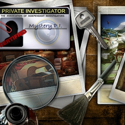 Cash Tournaments - Mystery P.I. - Dust off your magnifying glass and put your sleuthing skills to work! Find all the misplaced objects before time runs out in Mystery P.I.! - logo