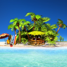 Paradise Beach - Build resort amenities where and when you want to in Paradise Beach! - logo