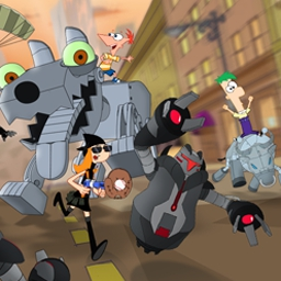 Phineas and Ferb: Robot Riot - The city is being invaded by Dr. Doofenshmirtz's robots! Don't let any Normbots get by you in Phineas and Ferb: Robot Riot! - logo
