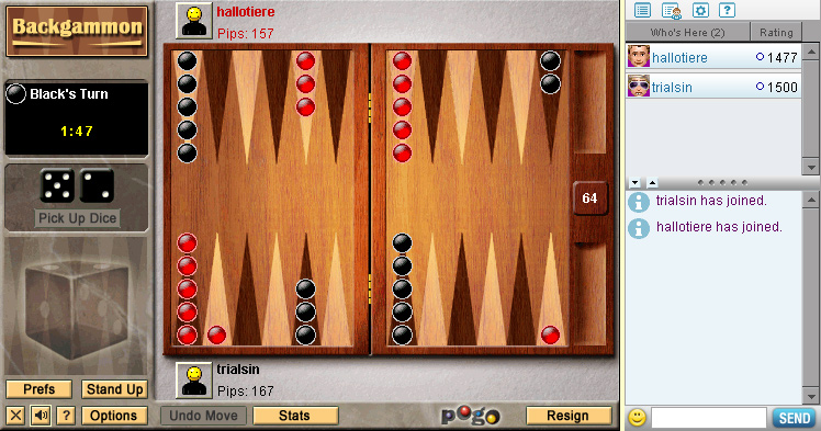 Backgammon on Pogo screen shot