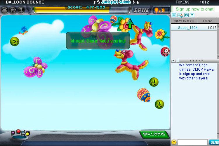 Balloon Bounce on Pogo screen shot