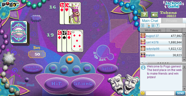 Blackjack Carnival on Pogo screen shot