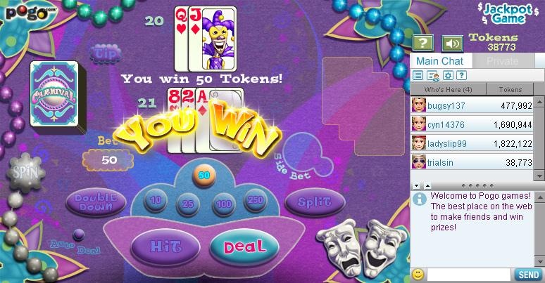 Blackjack Carnival on Pogo screen shot