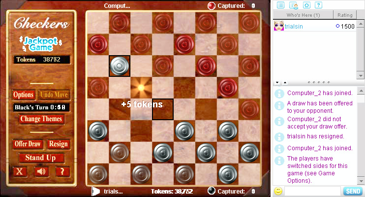 Checkers on Pogo screen shot