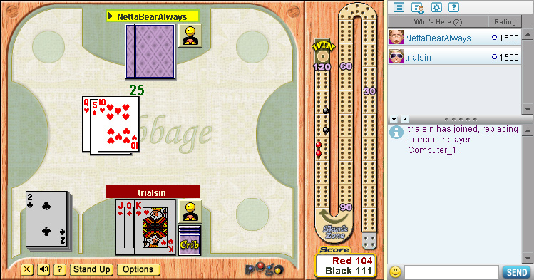 Cribbage on Pogo screen shot