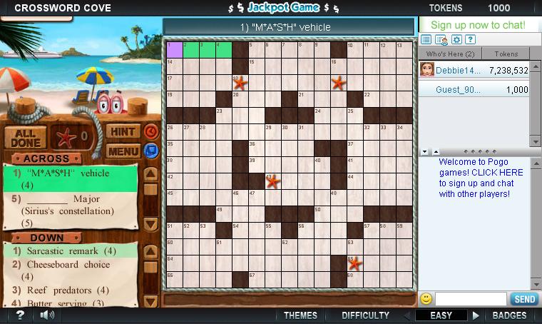 Crossword Cove on Pogo screen shot