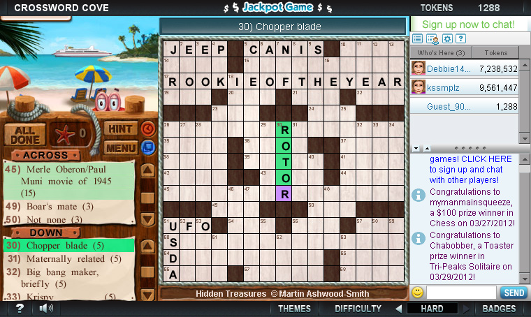 Crossword Cove on Pogo screen shot