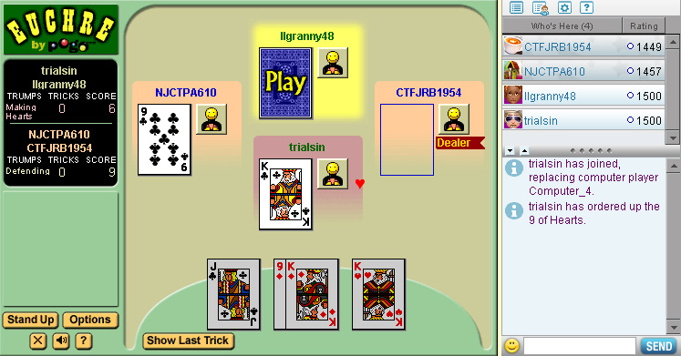 Euchre on Pogo screen shot