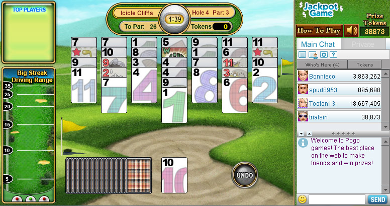 Golf Solitaire on Pogo screen shot