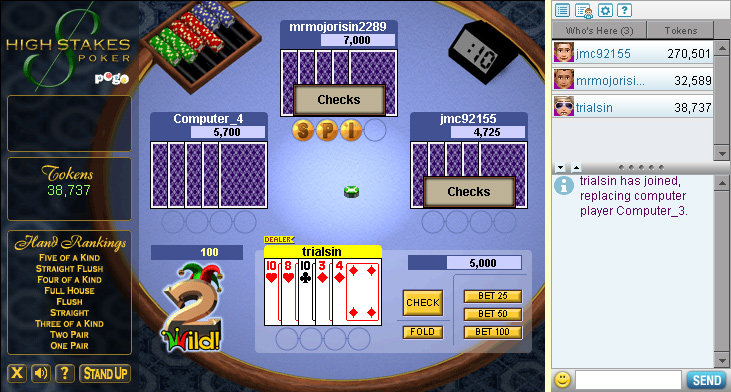 High Stakes Poker on Pogo screen shot