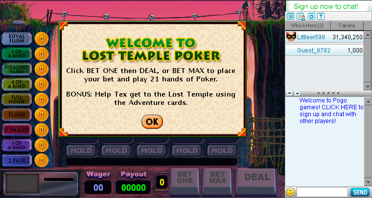 Lost Temple Poker screen shot