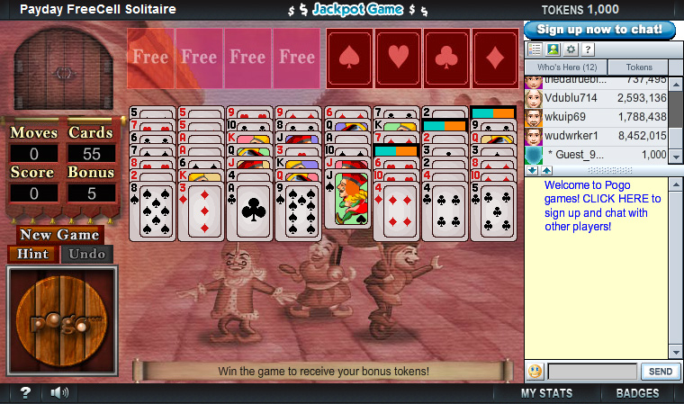 Payday FreeCell on Pogo screen shot