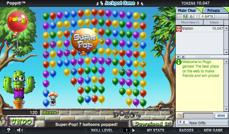 Poppit on Pogo screen shot