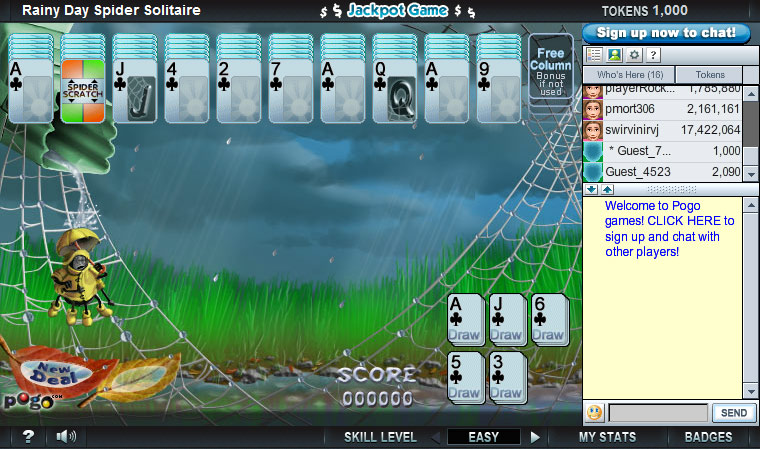 Rainy Day Spider Solitaire on Pogo screen shot