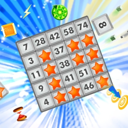 Slingo Blast Online - Match squares and blast them off with Slingo Blast.  Unlock special power-up Slingo blocks and send your scores through the roof before time runs out. - logo