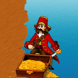 Swashbucks - Raise the Jolly Roger and don't go down with the ship!  Aim and shoot coins in this seafaring puzzle game, Swashbucks! - logo