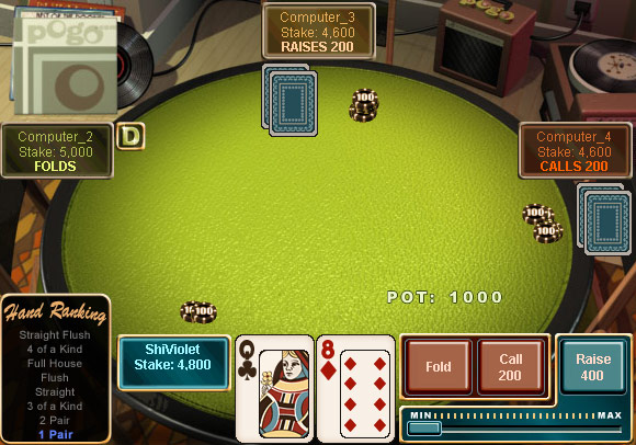 No Limit Texas Hold'em on Pogo screen shot