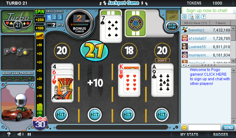 free turbo 21 card game online