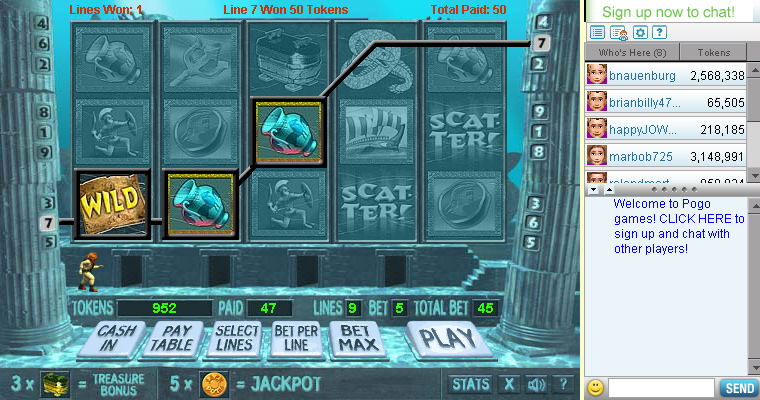 Vaults of Atlantis Slots on Pogo screen shot