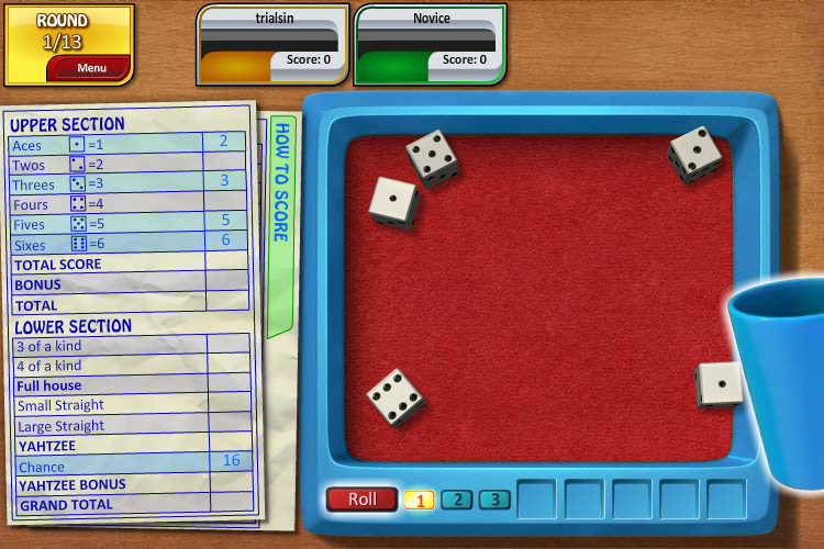 YAHTZEE Single Player screen shot