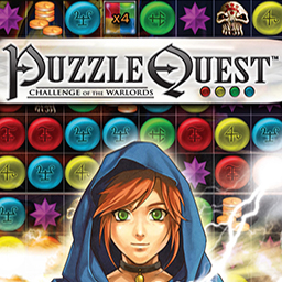 "Puzzle Quest - Challenge of the Warlords - ""Match 3"" puzzles and classic storytelling make up Puzzle Quest! - logo"