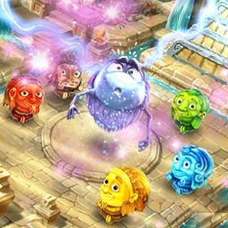 Rolling Idols: Lost City - Rebuild the Lost City and defeat the evil Nibiru in this match 3 adventure! In Rolling Idols: Lost City, unlock the elements and set them free! - logo