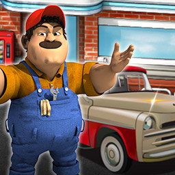 Rush Hour! Gas Station - Help your Uncle Tony make his dream a reality and turn his gas station into a great success in the time management game Rush Hour! Gas Station! - logo