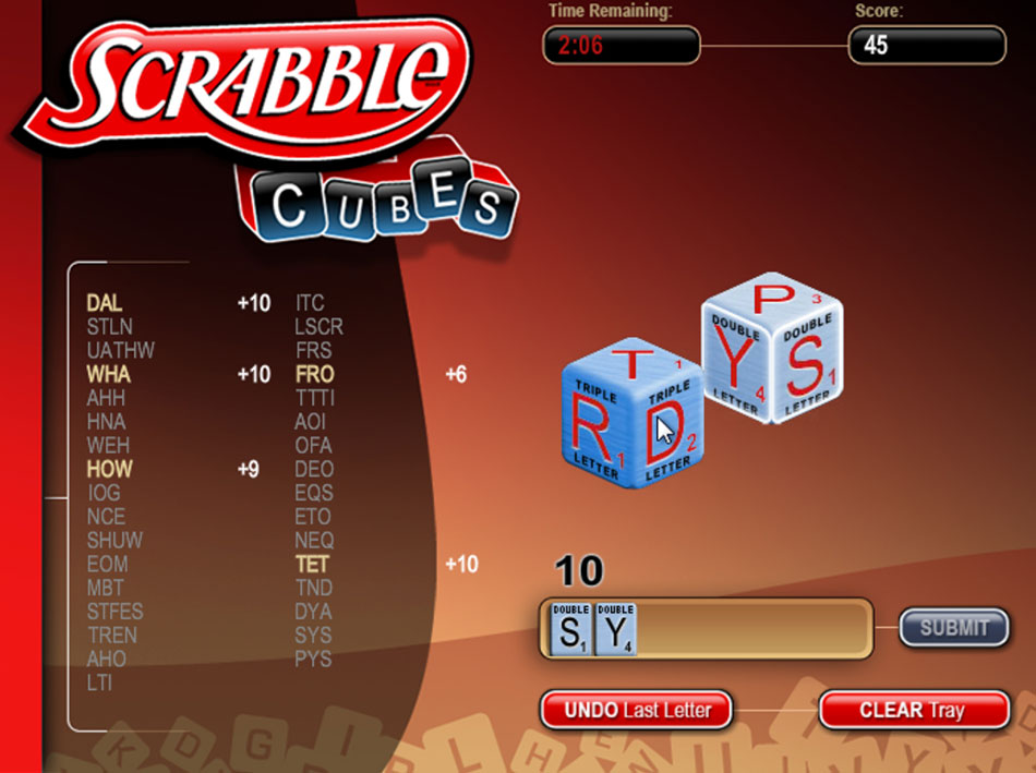 Cash Tournaments - SCRABBLE® Cubes screen shot