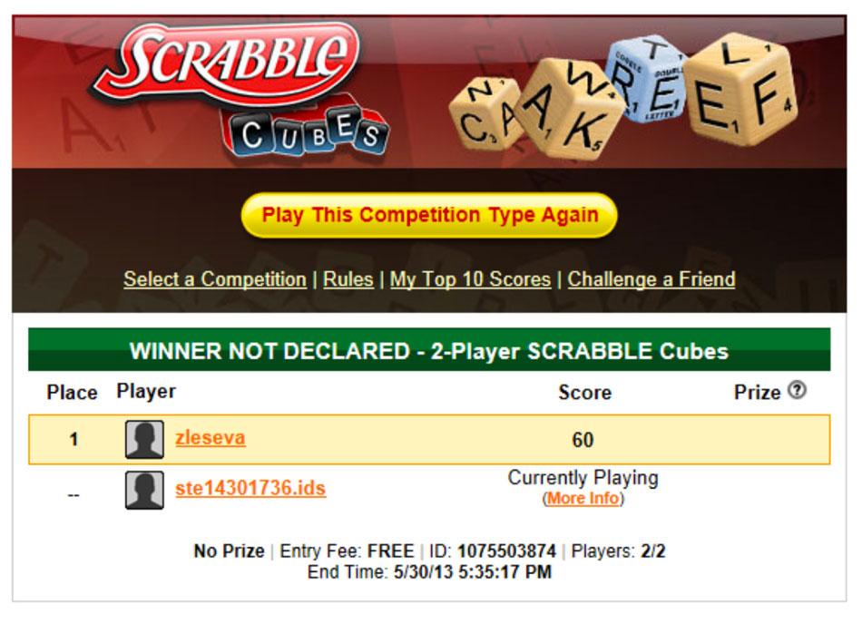 Cash Tournaments - SCRABBLE® Cubes screen shot