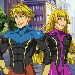 Spandex Force: Champion Rising - Create your own hero, train your superpowers, and battle the bad guys in the hex-based Match 3/RPG Spandex Force: Champion Rising! - logo
