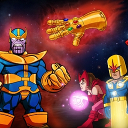 Superhero Squad Stones of Thanos - Thanos has the Infinity Gauntlet stones. Hero Up with the team to get those stones! - logo