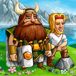 Viking Brothers - By the horns of your helmet! Through 50 levels of rollicking time management fun, you'll rebuild the Viking world in Viking Brothers. - logo