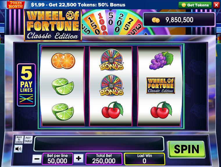Wheel of fortune slots classic edition screen shot