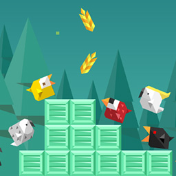 Birdy Rush - Avoid being smashed by crates and collect grains! - logo