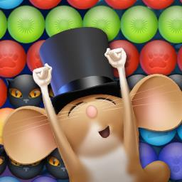 Bubble Mouse - Help the mayor stop this kitty menace in Bubble Mouse, an online bubble shooter. - logo