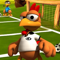 Crazy Chicken Soccer - Crazy Chicken Soccer is two sports games in one!  Sweep players off the field and score goals by using bicycle kicks! - logo