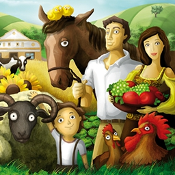 Family Farm - Welcome to the family farm! Experience life of the old times as you manage your farm within the community. Play Family Farm today! - logo