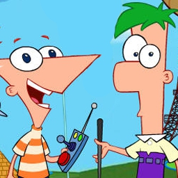 Phineas and Ferb: Gadget Golf - Play a round of mini-golf with Phineas and Ferb! Earn extra points by bouncing the ball of walls and objects. - logo