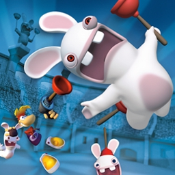 Rayman Raving Rabbids - Entertain and outwit a horde of furry foes in Rayman Raving Rabbids™! - logo